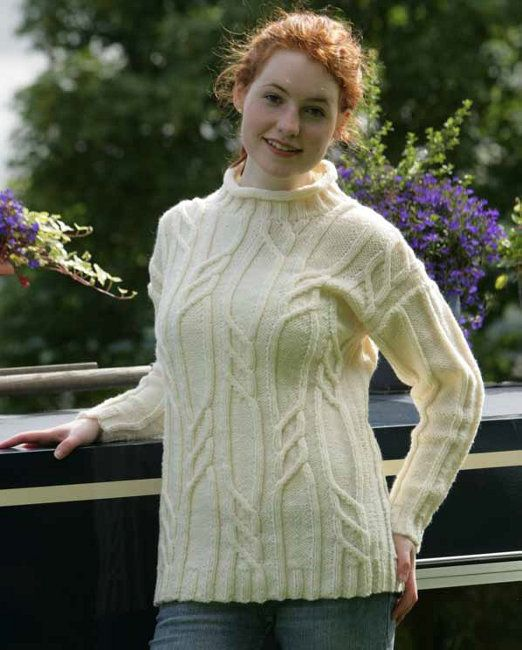 Free knitting pattern - Cabled Sweater in Wendy Traditional Aran ...