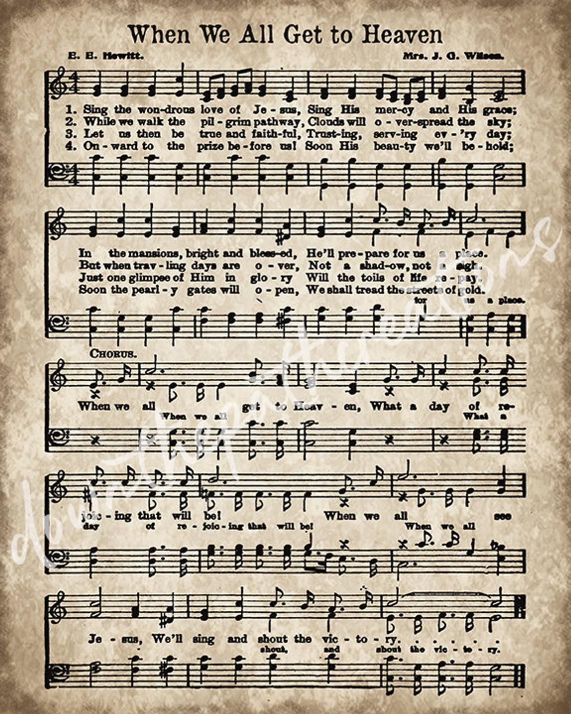 When We All Get To Heaven Print Printable Vintage Sheet Music
