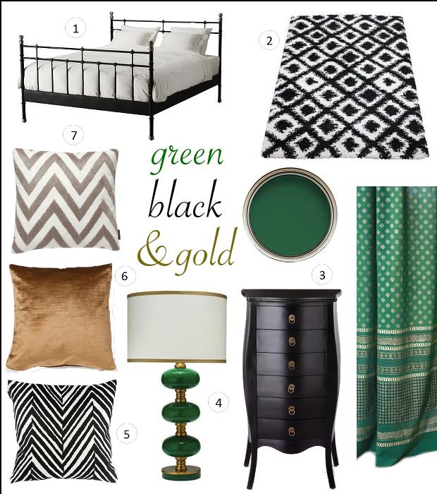 Interior Ideas Black Emerald Green Gold Bedroom Green Master