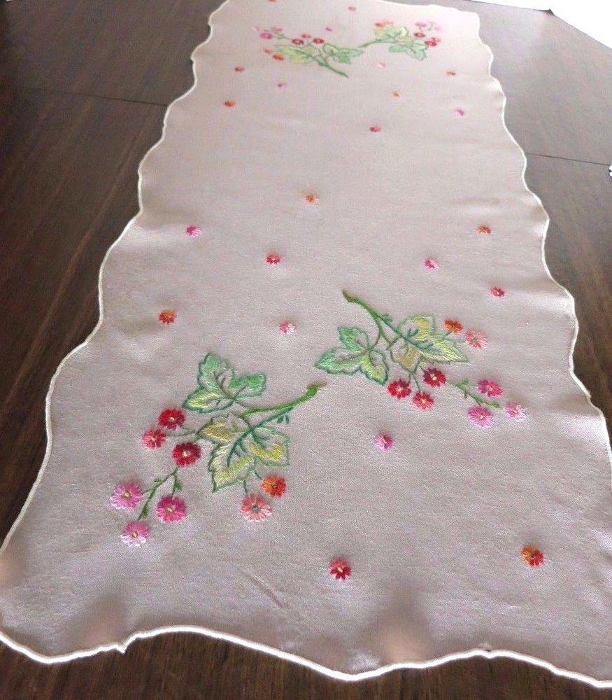 Vintage Hand Embroidered Table Runner Dresser Scarf Linen Color