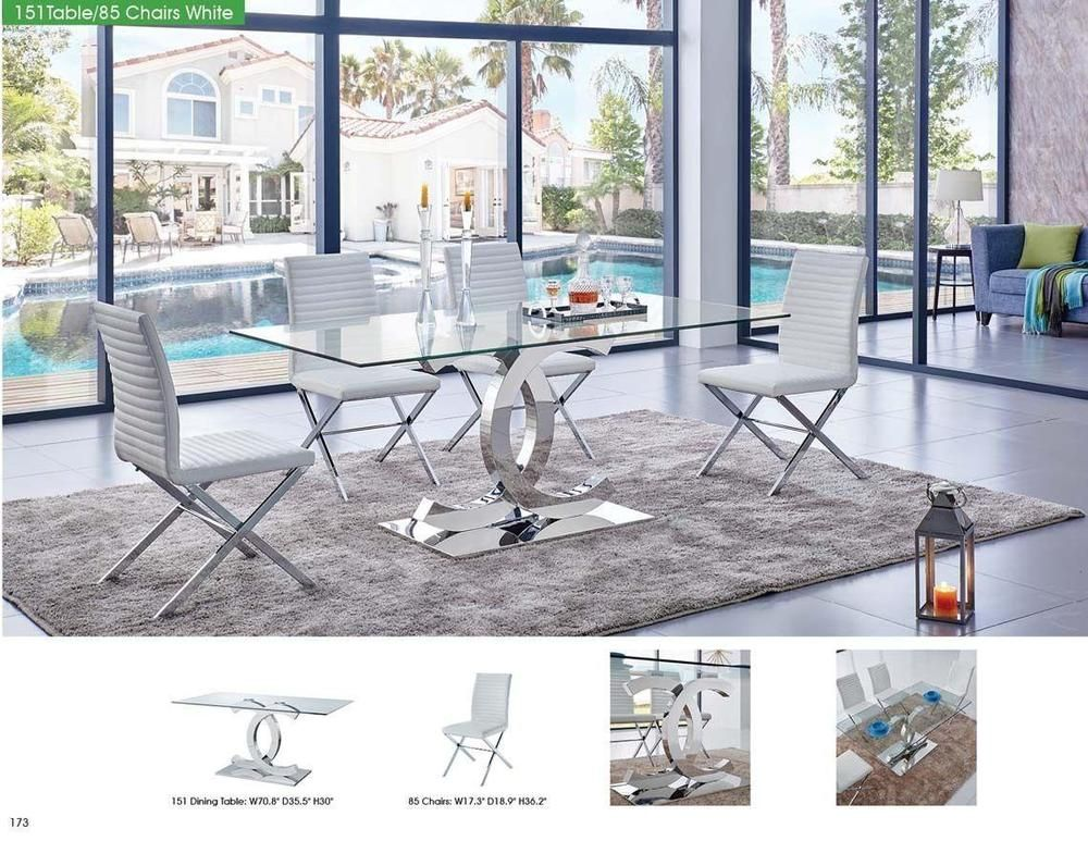 ESF 151 Modern Dining Table W/Clear Glass Top U0026 85 White Leather Chair Set  7 Pcs