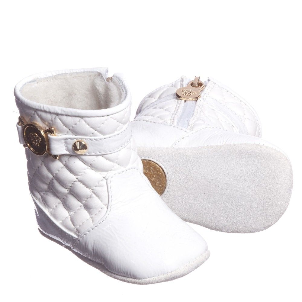 cc624c6d51af Young Versace Baby Girls White Leather Fur Lined Boots at  Childrensalon.com. Young Versace baby girls white boots made from soft  quilted leather with shiny ...