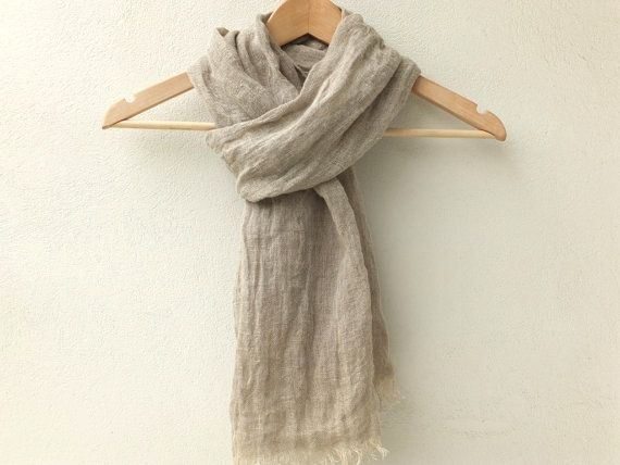 85c4ee05aaa Light grey linen scarf for women and men | Pure linen scarves ...