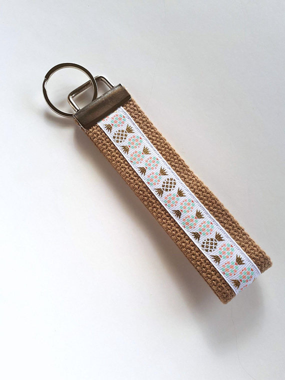 Mini KEY FOB- Gold Pineapple Key Chain- Womens Key Ring- Womens Wristlet Key  Fob- Womens Gift for He 25c77a1ff8