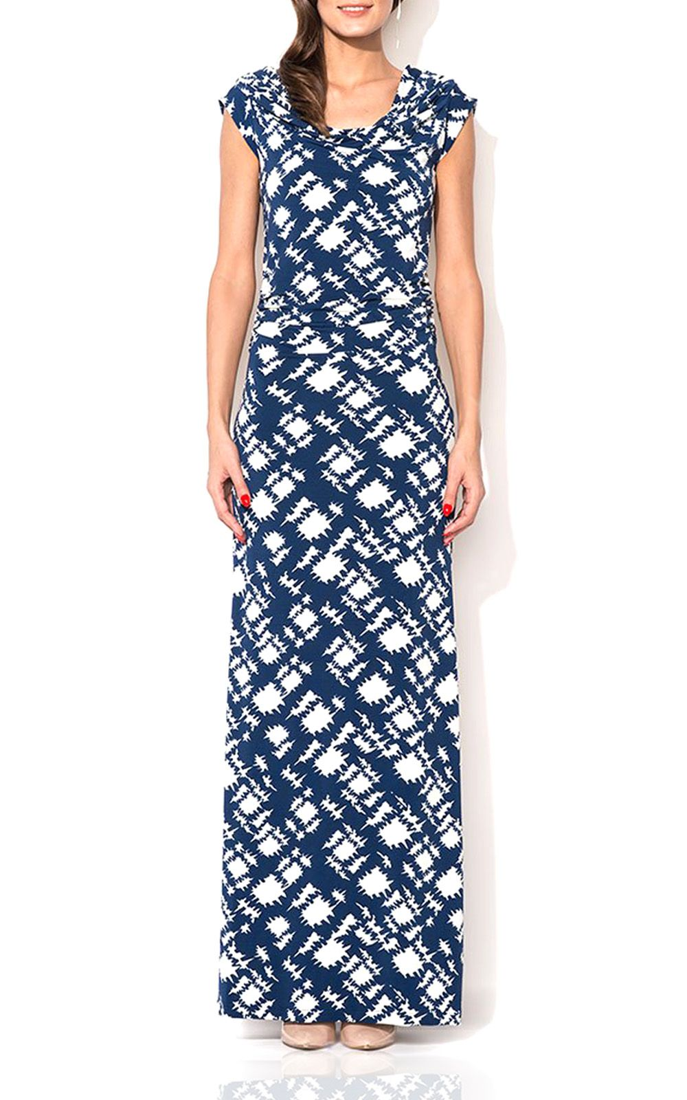 Blue print draped cowl neck long maxi dress the jersey dress