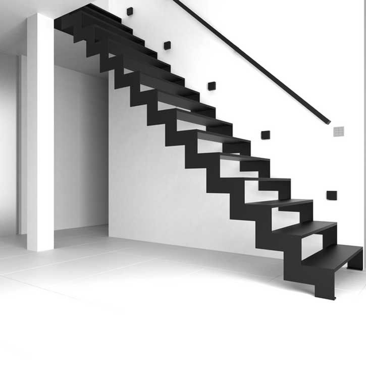 Cool White Interior Column Also Black Z Style Modern Stairs And Wall Mount  Handrails As Minimalist