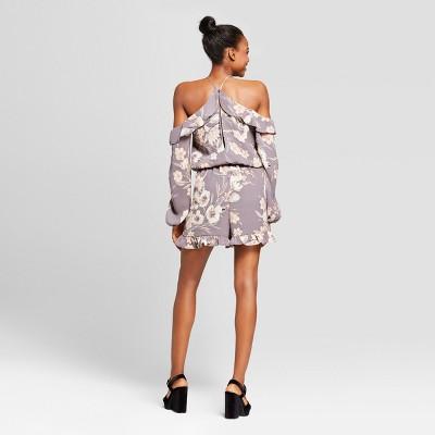 872cccbe17ed Women s Floral Long Sleeve Romper - Xhilaration Stone XL