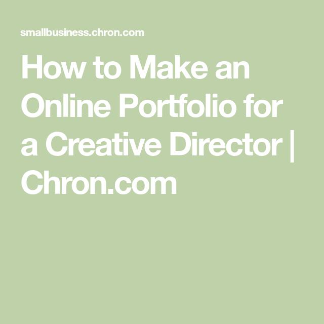 How to Make an Online Portfolio for a Creative Director | Chron.com