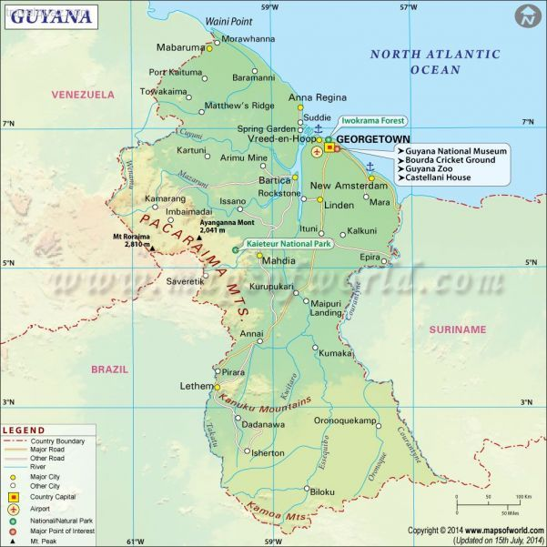 cool Guyana Map Travelquaz Pinterest Free maps and City