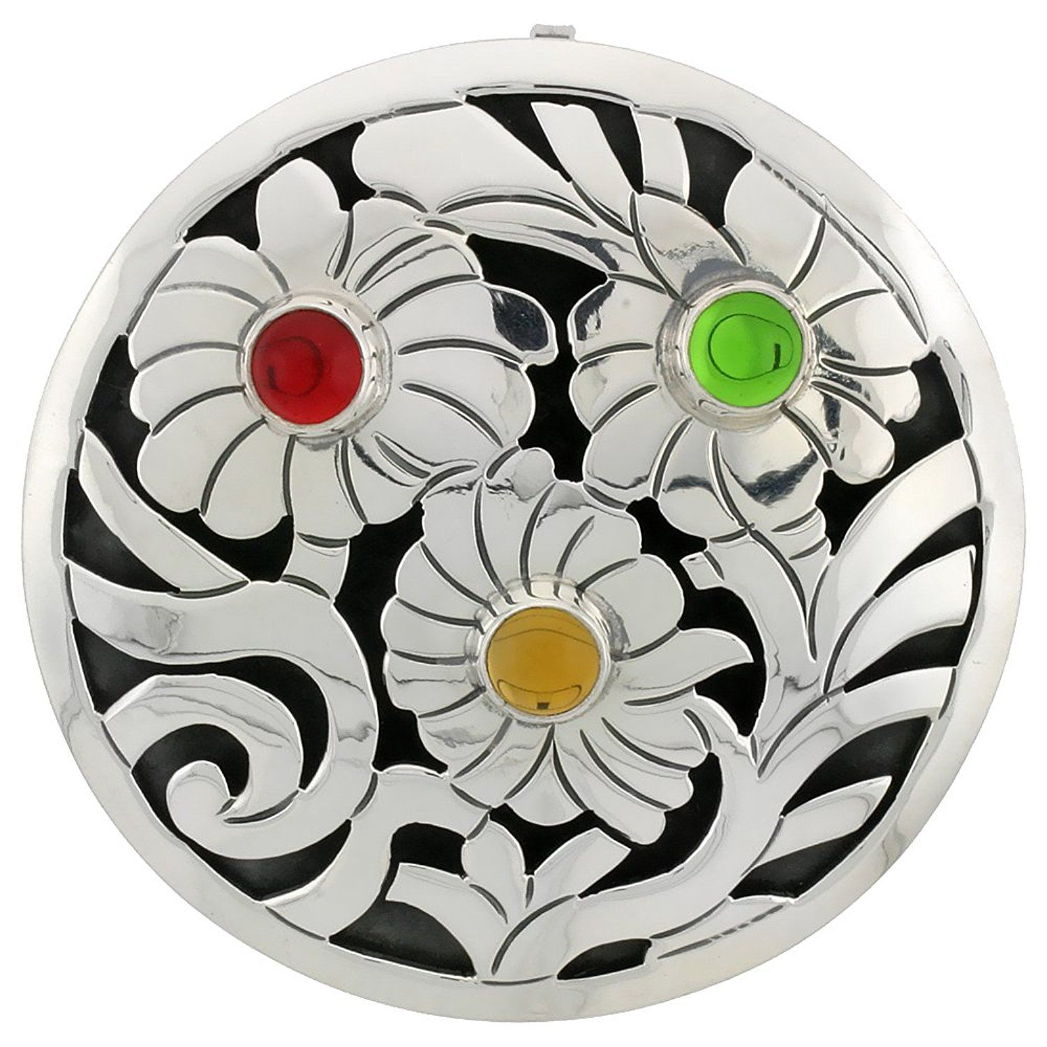 Sterling Silver Brooch / Pendant Assorted Colors Beads, 2
