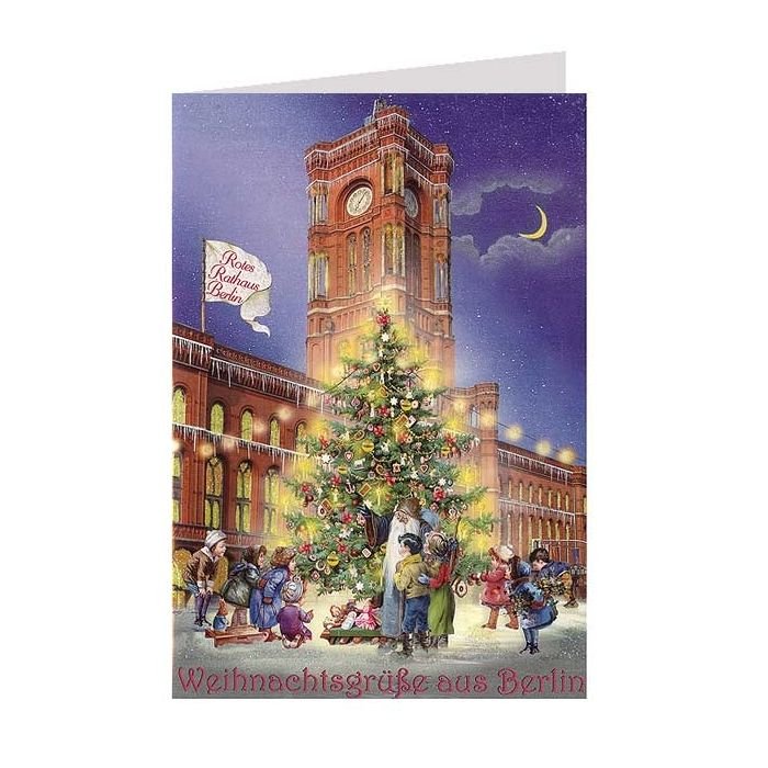 rotes rathaus berlin glittered christmas card germany. Black Bedroom Furniture Sets. Home Design Ideas