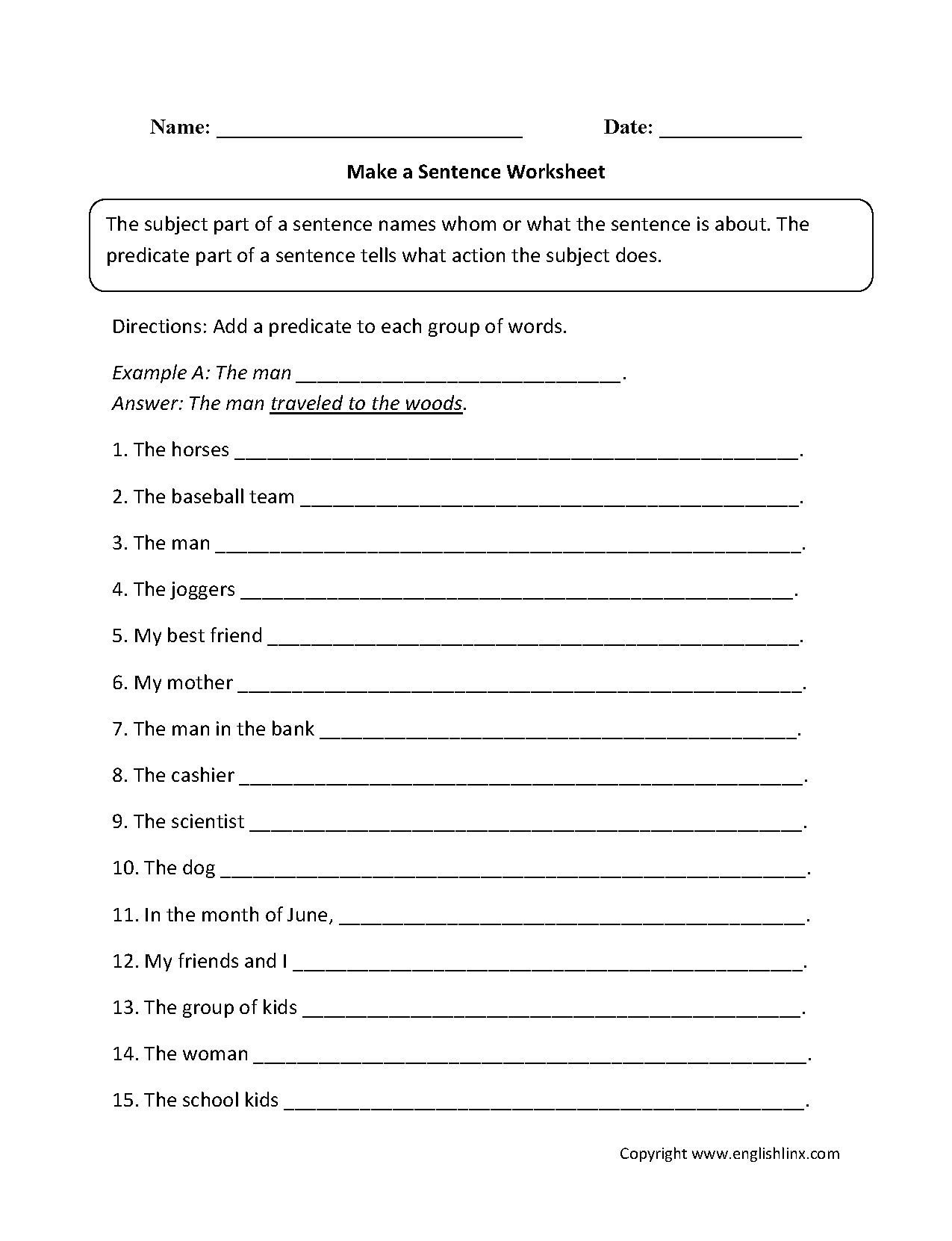 The Sentence Building Worksheets For Kindergarten Format