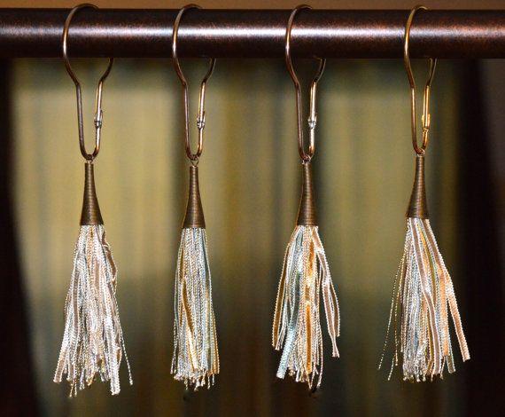 Shower Curtain Hooks Boho Silky Tassels 4 By Offthepedestal Shower Curtain Hooks Antique Bronze Curtains