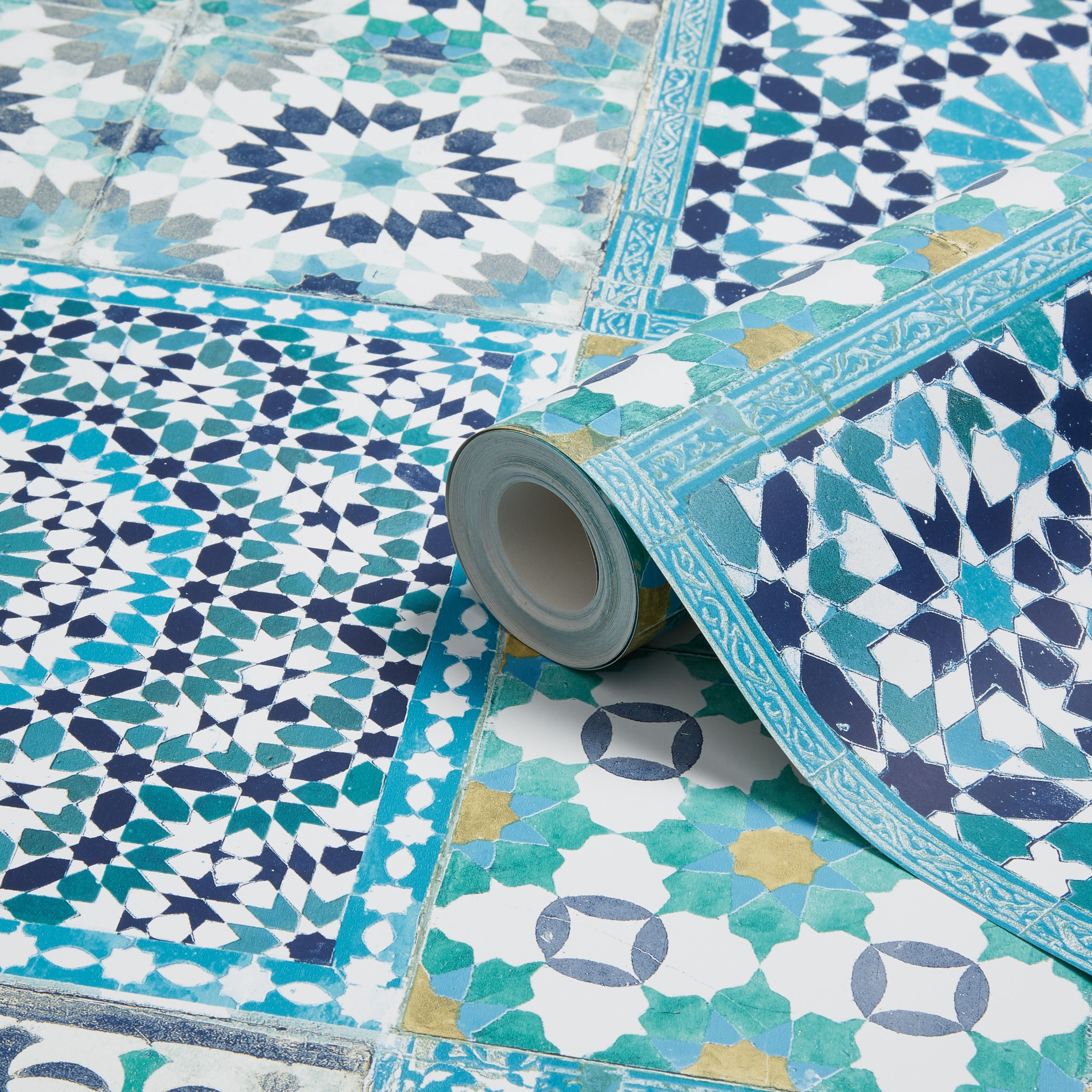 Grandeco Sapphira Blue Mosaic Tile Wallpaper Blue mosaic tile