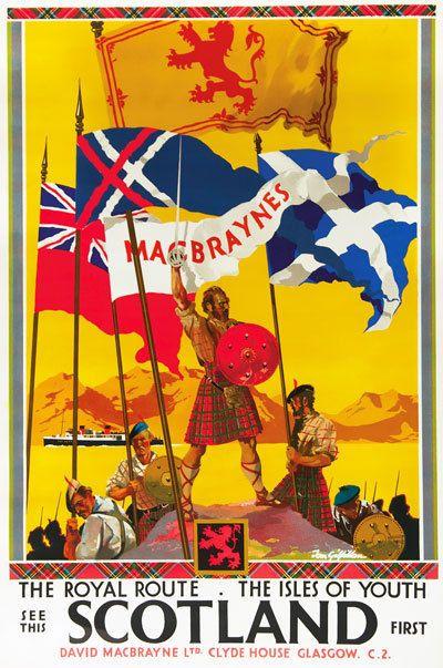 TU43 Vintage See Scotland Royal Route Railway Travel Poster Re-Print A4