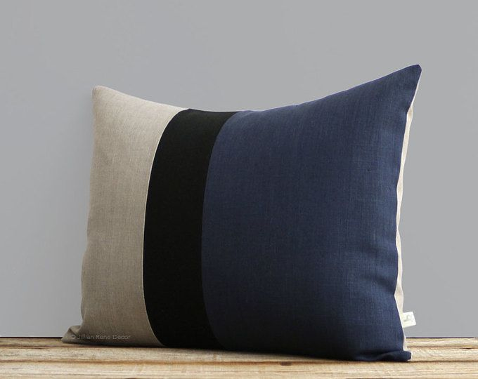 Navy Blue Black And Natural Linen Colorblock Pillow Cover 16x20