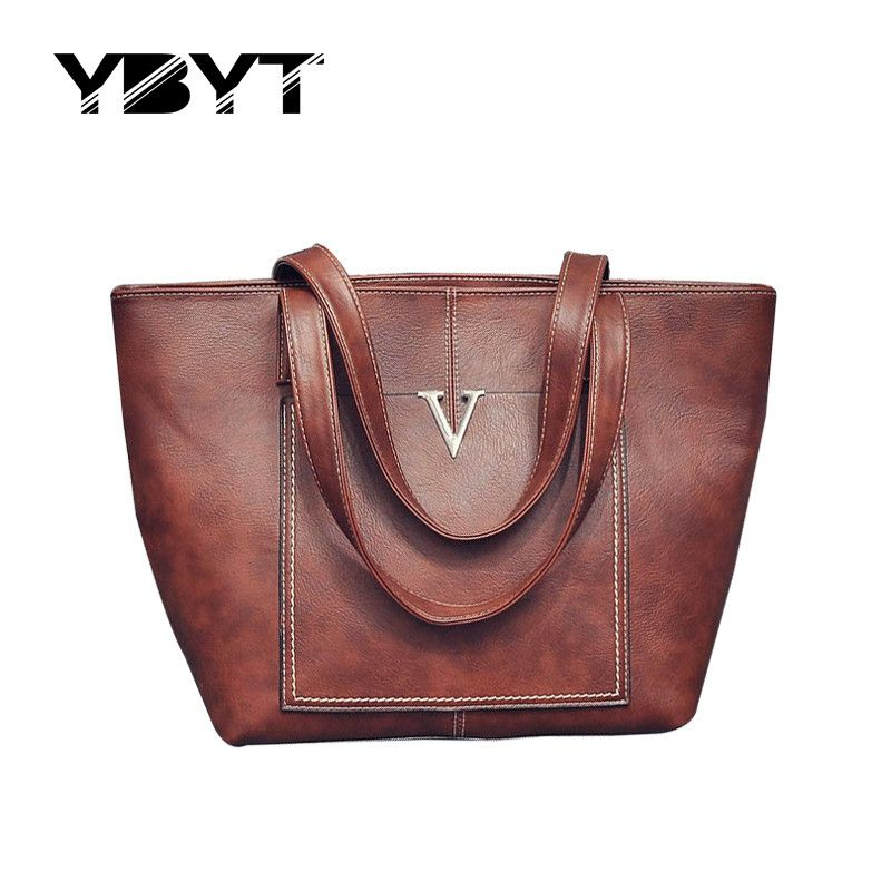 YBYT brand 2017 new women PU leather totes vintage casual shoulder bag female large capacity package ladies shopping handbags