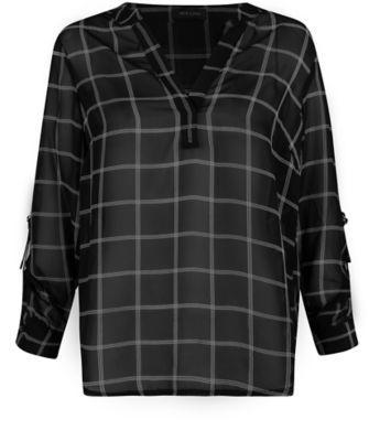 Black Chiffon Grid Print Blouse