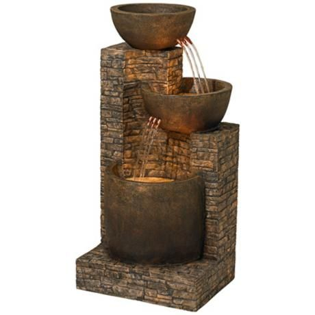 Mason 35 High Faux Stone Led Floor Fountain V7837 Lamps Plus Garden Water Fountains Faux Stone Indoor Water Fountains