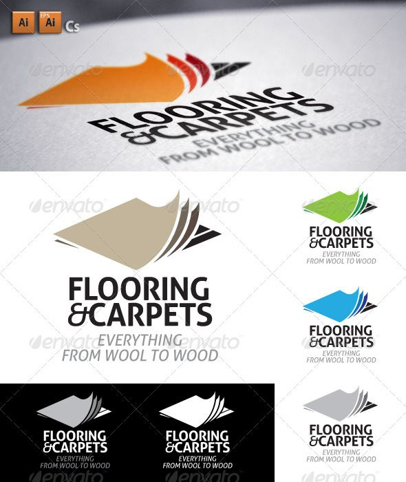 Flooring Carpets Layering Carpet Flooring Logo Design Template