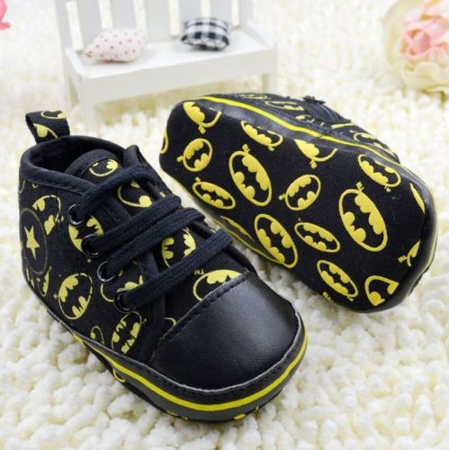 Infant Baby Boy Black Soft Sole Crib Shoes Sneakers Size Newborn To