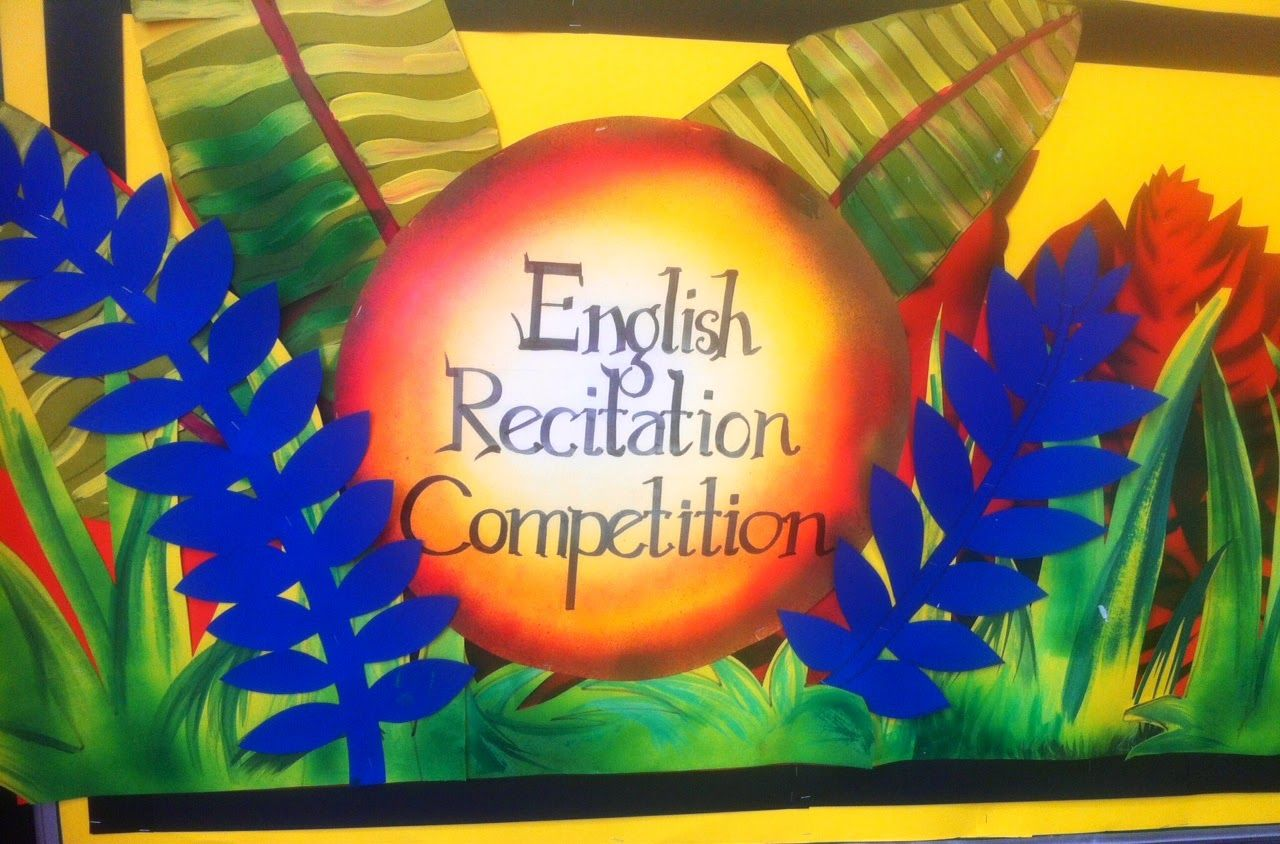 English Recitation Competition Bulletin Board School Board Decoration Class Board Decoration Teaching Art