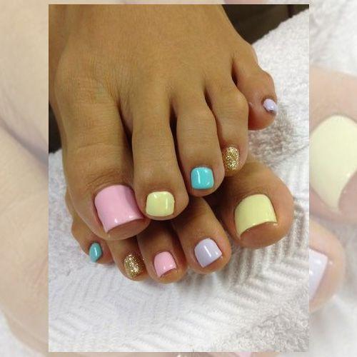 Pastel color pedicure, looks like Easter toe nail polish - Easter Nails – 66 Best Easter Nails Summer Nail Art, Easter