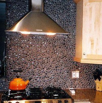 Pebble Tile Rock Backsplash