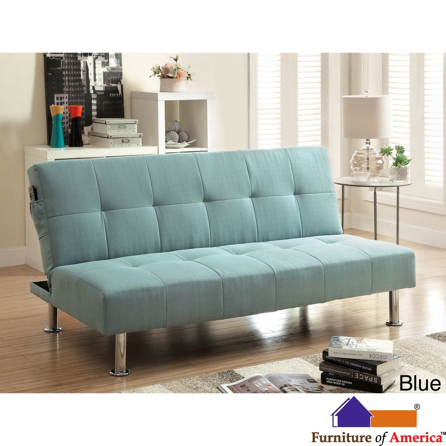 Furniture Of America Willbry Spring Contemporary Flax Fabric Futon Sofa By