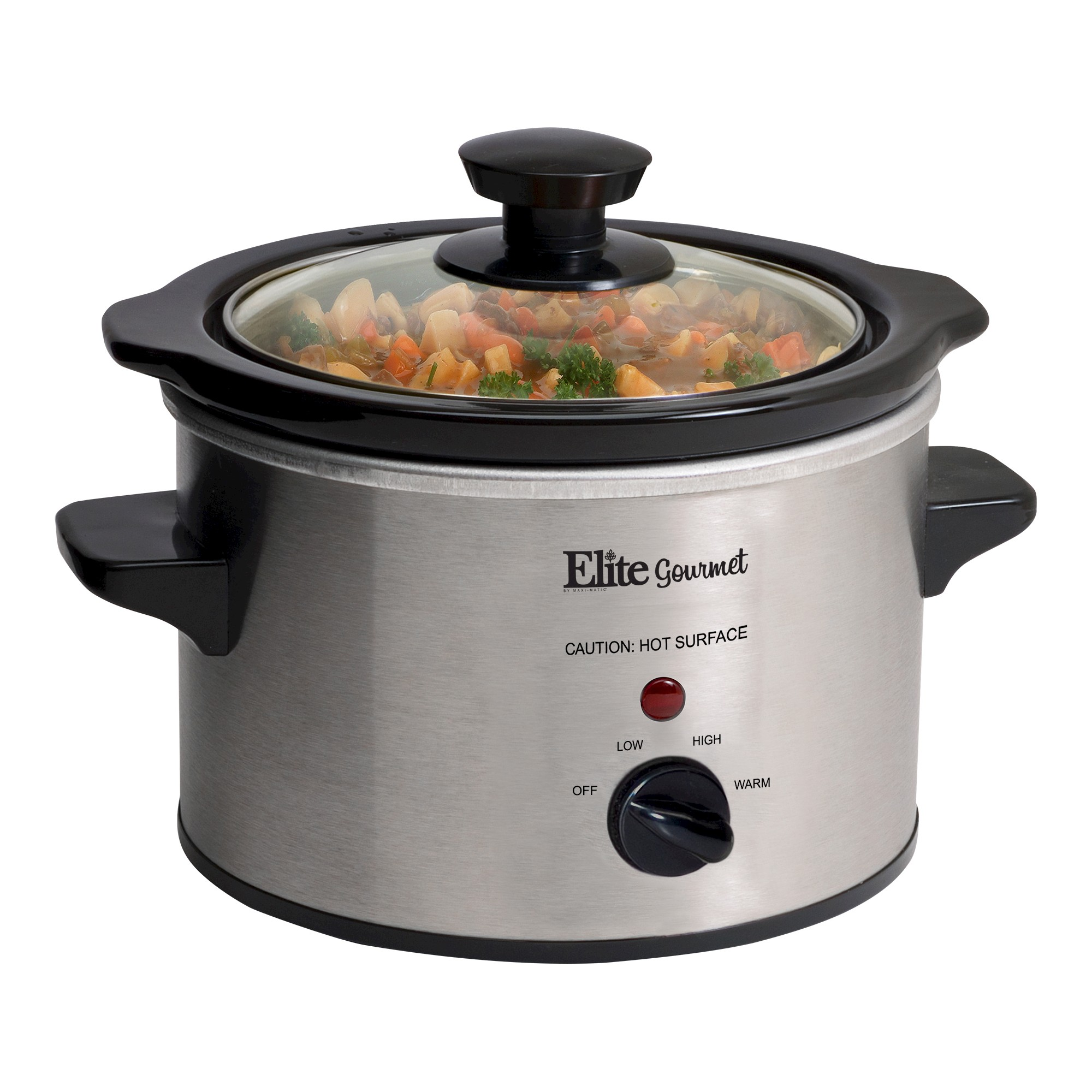 Elite Gourmet Stainless Steel 1 5 Qt Mini Slow Cooker Small