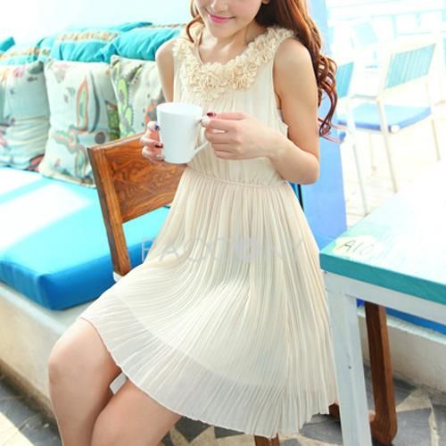 Summer New Arrivals Solid Round Neck Sleeveless Pleated Chiffon Dresses