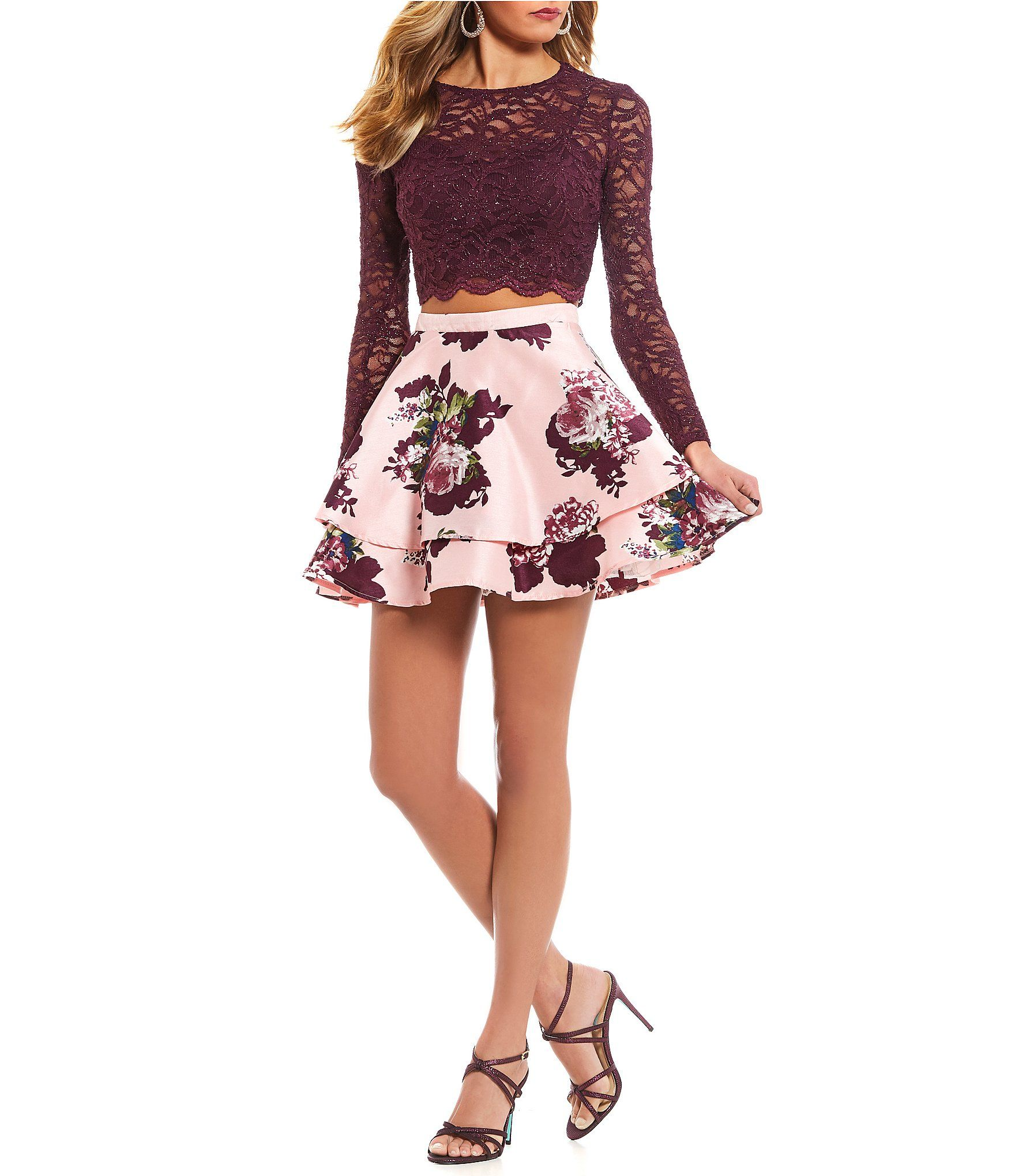 07c333da5 Long Sleeve Lace Top With Floral Skirt Two Piece Dress - raveitsafe