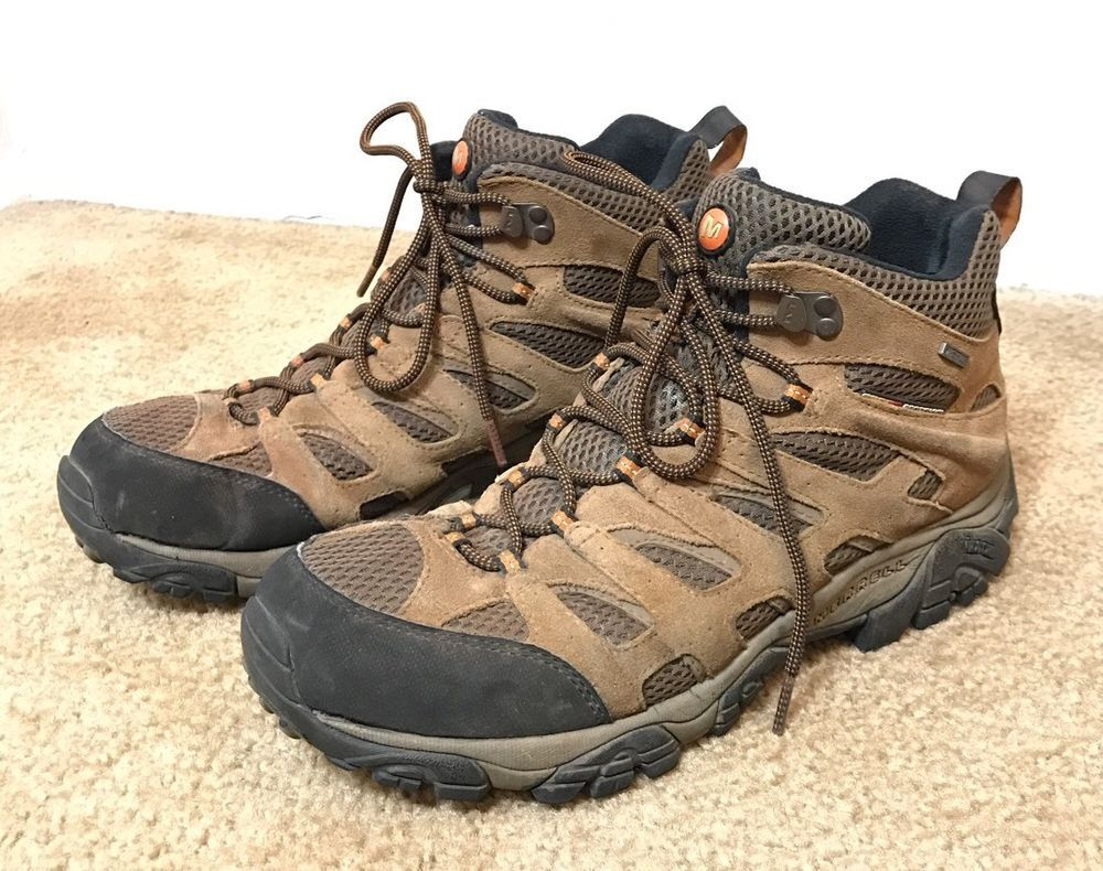 Merrell Mens Size US 11 Moab Mid WP Hiking Boots Earth Wide EUR 45 USED WORN    eBay