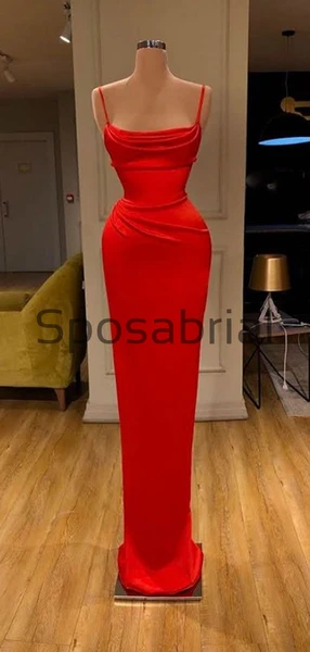 Red Mermaid Tight Spaghetti Straps Satin Simple Modest Prom Dresses PD2086