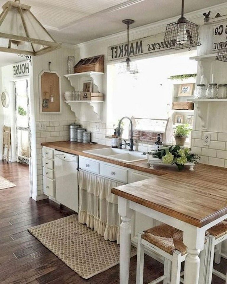 Country Kitchen Look: 67+ Rural Farmhouse Kitchen Cabinet Makeover Ideas