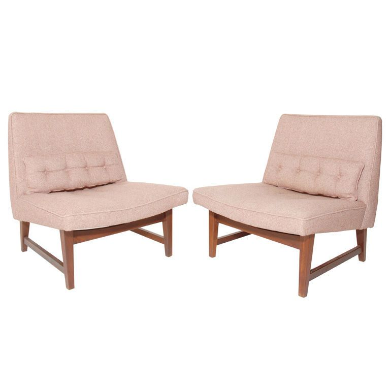 Stupendous Pair Of Low Slung Modern Slipper Chairs Living Dining Theyellowbook Wood Chair Design Ideas Theyellowbookinfo