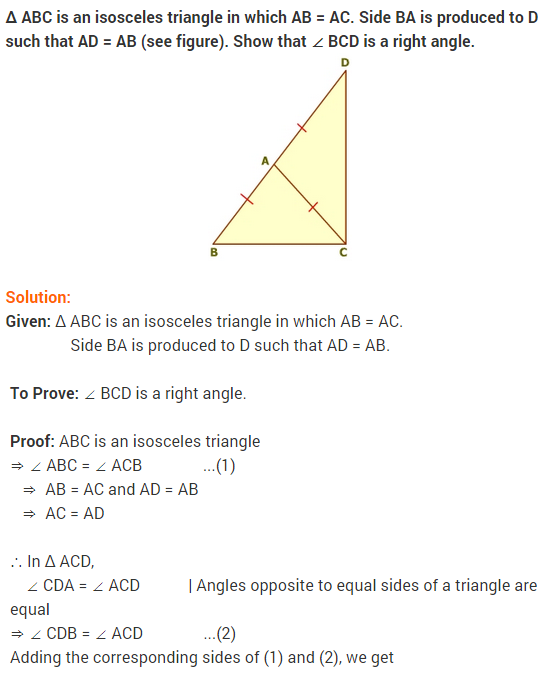 NCERT solutions for class-9 maths chapter-7 Triangles Ex-7 2