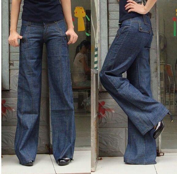c27a5239a5e Chic Women s Casual Jeans Loose Bell-Bottoms Wide Leg Pants Plus Size  Trousers