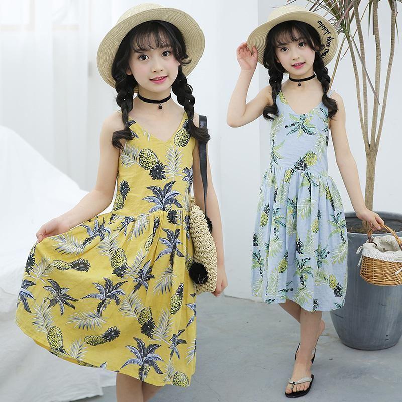 bff8a174f8f3c 2018 Brand Bohemia Children Dress Girls Summer Kids Girls Pineapple ...