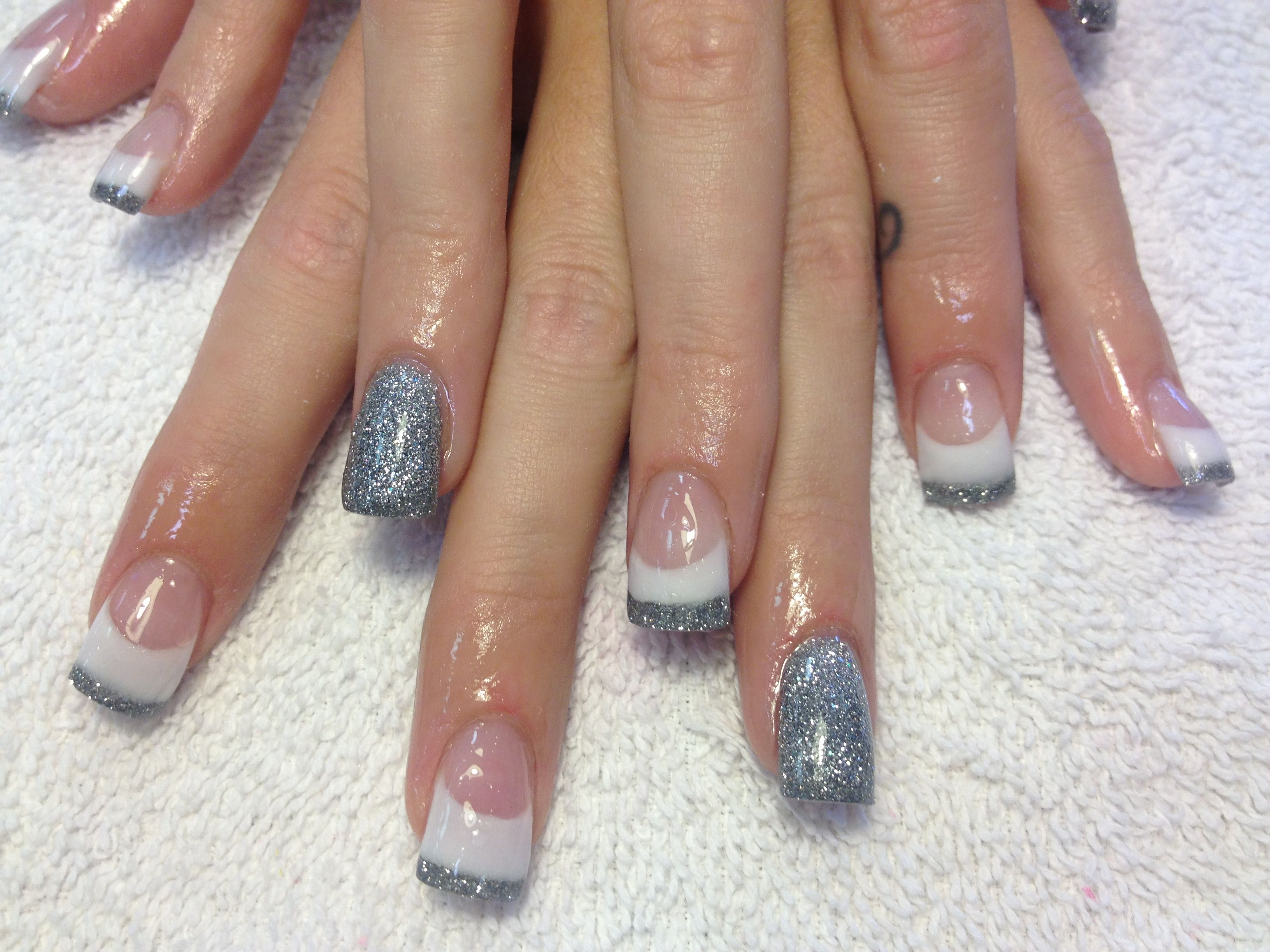 White Acrylic Silver French Nail Art Glitter Sparkle Nails