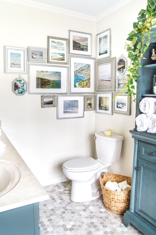 Coastal Gallery Wall And Printable Set Master Bathroom Refresh Corner Gallery Wall Bathroom Wall Decor