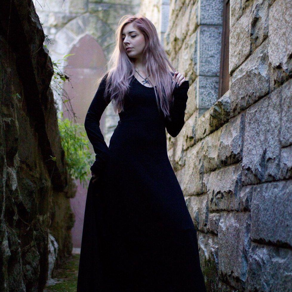 Gothic dress medieval dress witch dress black maxi dress