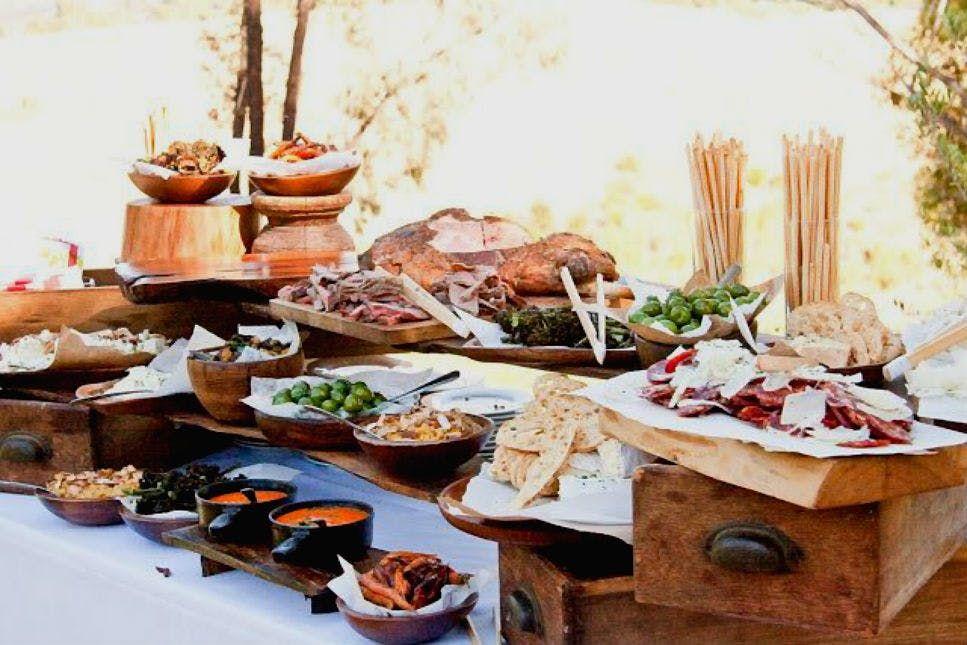 Think Outside The Dessert Table 23 Fresh Food Stations Via Brit Co Rustic Food Display Wedding Food Table Wedding Food Display