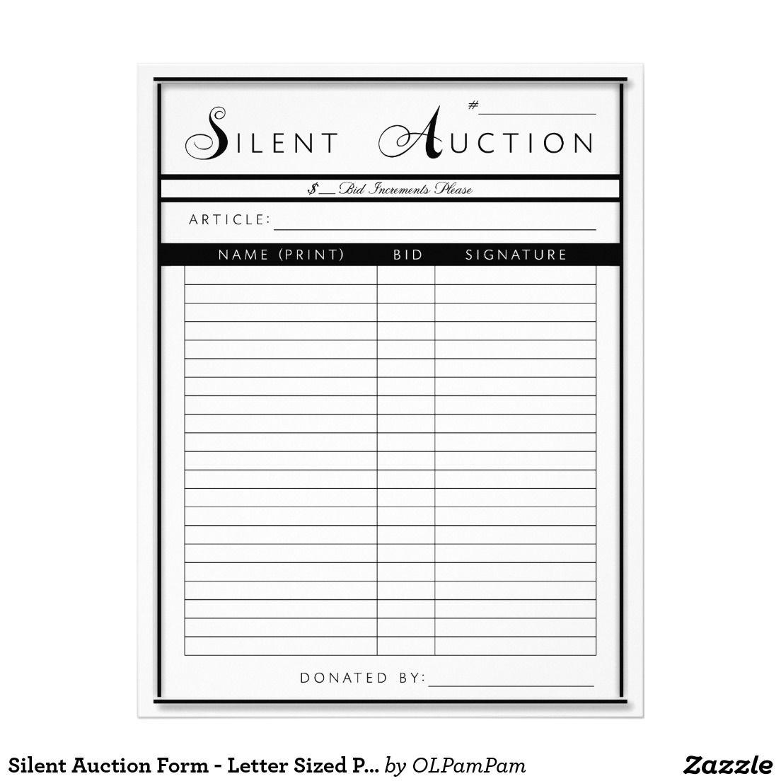 Silent Auction Form Letter Sized Paper Zazzle Com Donation Letter Letter Form Silent Auction Silent auction donation form template