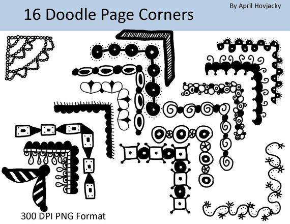 INSTANT DOWNLOAD 16 Page or Photo corner borders, Clip Art Set ...