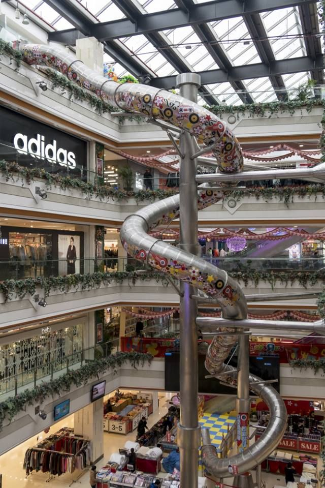 A Big Playground Slide Made Its Debut At A Shopping Mall In Shanghai Like A Huge Dragon The Slide Is Made Of Stainless Steel And Spirals From The Fifth Floor