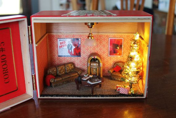 Miniature Children S Bedroom Room Box Diorama: Vintage Cigar Box Christmas Dollhouse: Upcycled Miniature