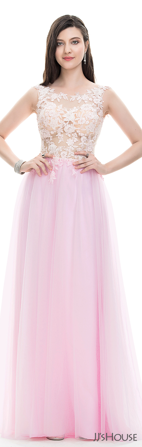 A-Line/Princess Scoop Neck Floor-Length Tulle Prom Dresses With ...