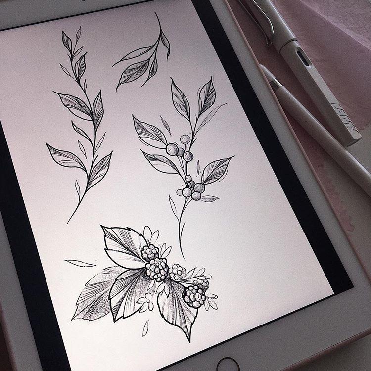 "Polina Matveeva•Tattoo Artist on Instagram: ""Свободные веточки🌿 . #flower #flowertattoo #floraltattoo #linework #tattooart #sketchbook #drawing #tattoos #tattoo #illustrations  #ink…"""