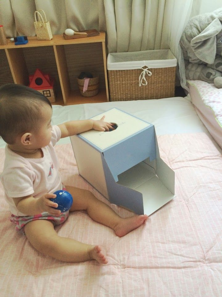 diy montessori object permanence box cause and effect baby play activity with diy baby toy. Black Bedroom Furniture Sets. Home Design Ideas